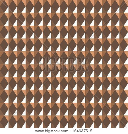 Seamless geometric rhombic pattern. Convex shine texture with glitters, sparkles on rhombs. Brown, beige colored background. Vector