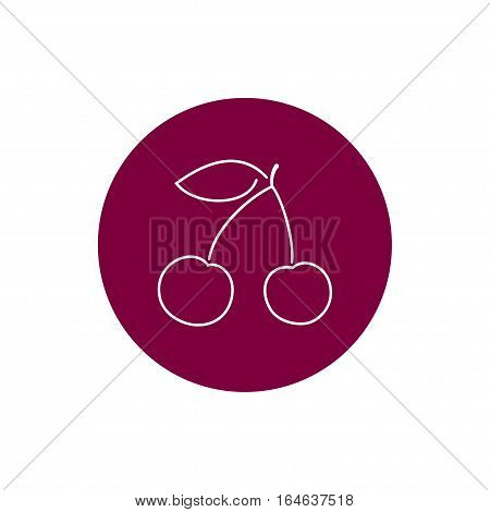 Cherry, Colorful Round Icon Cherry or Cherries Fruit ,Icon Prunus Avium,Wild Cherry or Gean