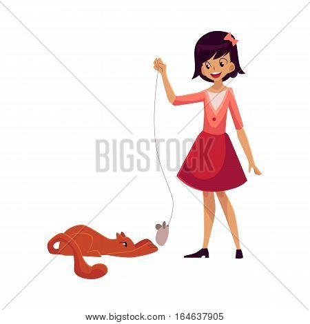 Teenage girl standing and playing with her red cat, cartoon vector illustration on white background. Full length portrait of black haired girl playing with her cat using toy mouse