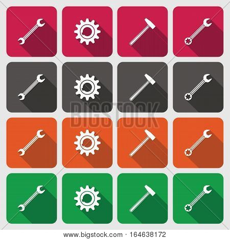 Tools icons set. Cogwheel, gear, hammer, wrench key. Repair fix tool symbols. Square colorful circle flat buttons with long shadow. Green, orange, gray, red colored. Vector