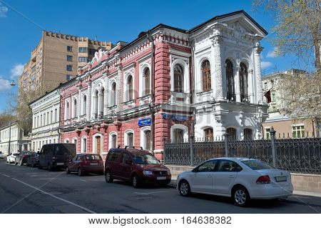 MOSCOW, RUSSIA - APRIL 24, 2016: City manor state councilor and philanthropist Peter Fedorovich Sekretarev the house was built in the period from 1850 to 1853 Gogolevsky Boulevard home 5 Building 1 landmark
