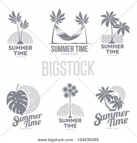 Set of black and white, silhouette logo templates with palm tree, hammock, monstera leaf, vector illustration isolated on white background. Graphic logotypes, logo templates with tropic palms