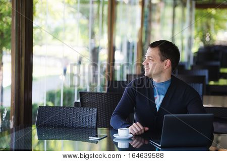 Man Relax Lifestyle Working Coffee Shop Concept.
