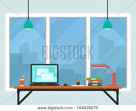 business workplace room interior with town on window