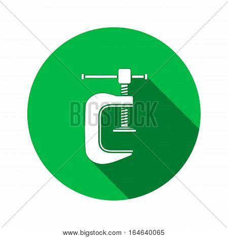 Tool icon. Clamp vise vice, joiners cramp, G-press instrument. Industrial, fixing, support symbol. White sign on round green flat button. Vector