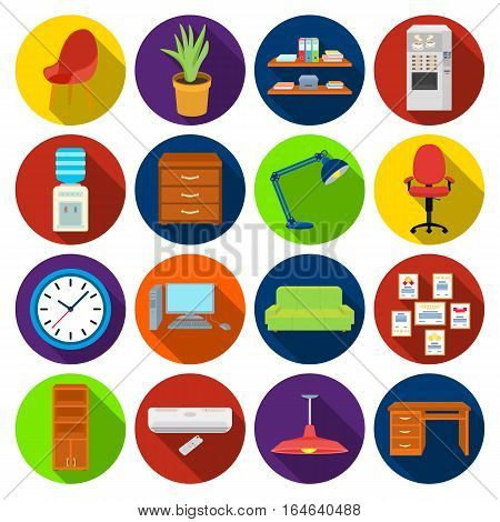 Office furniture and interior set icons in flat design. Big collection of office furniture and interior vector symbol stock illustration