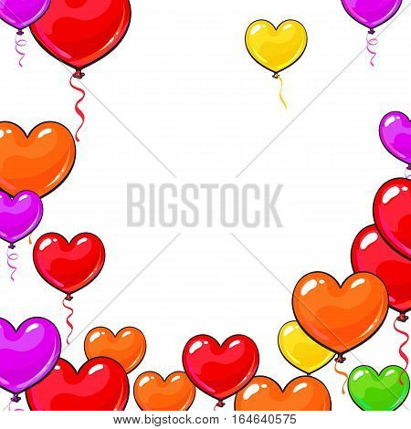 Round frame of bright and colorful heart shaped balloons, cartoon vector illustration isolated on white background. Multicolored heart balloons, round frame decoration, greeting card template