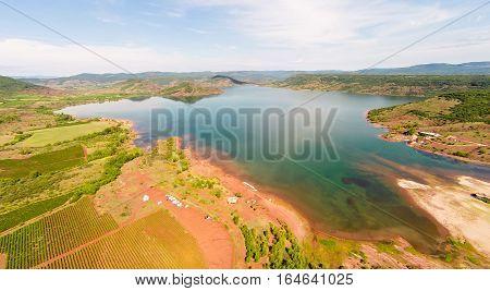 aerial view of lac de salagou, southern france