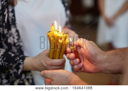 Candles During Orthodox Christening
