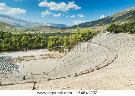 Ancient Epidaurus, Greece - SEPTEMBER 2016: Tourists in the Epidaurus Ancient Theater