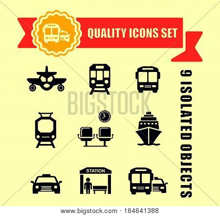 isolated transport icons set with red tape