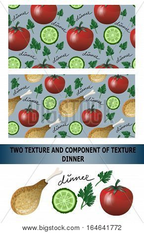 Dinner pattern. Tomat, chiken and cucumber. Vector illustration.