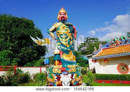 Chinese Warrior Guan Yui Statue on Samui island, Thailand