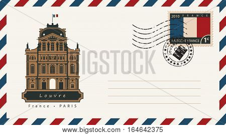an envelope with a postage stamp with Louvre and the flag of France