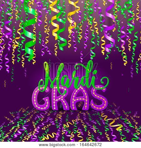 Vector illustration of Mardi Gras holiday greeting card with colorful yellow, green, purple serpentine ribbons and text lettering sign on dark background