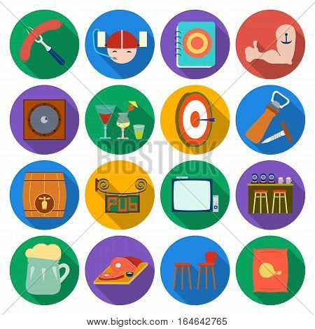 Pub set icons in flat design. Big collection of pub vector symbol stock illustration