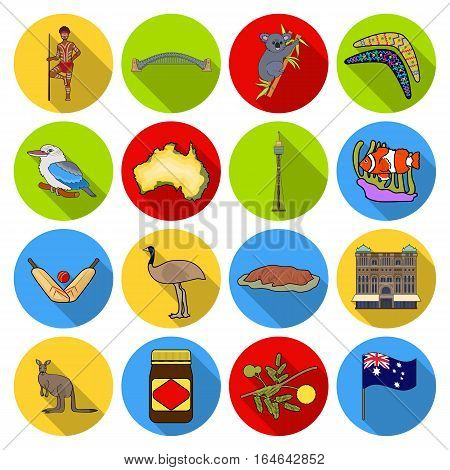 Australia set icons in flat design. Big collection of Australia vector symbol stock illustration