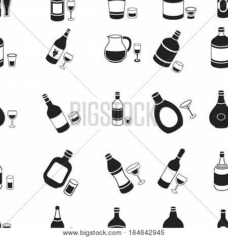 Alcohol pattern icons in black style. Big collection of alcohol vector symbol stock