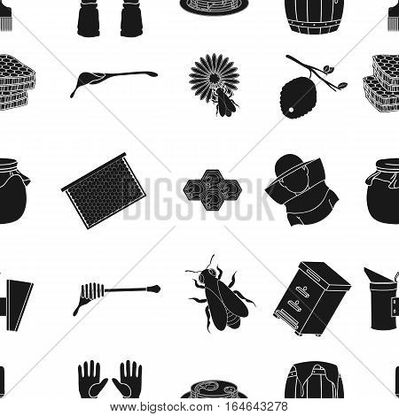 Apiary pattern icons in black style. Big collection of apiary vector symbol stock