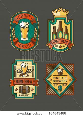 Vector collection of color retro beer labels, emblems, stickers isolated on white.