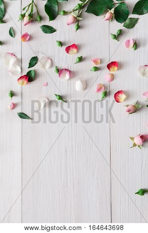 Valentine background, pink rose flowers and petals scattered on white rustic wood, top view with copy space. Happy lovers day mockup