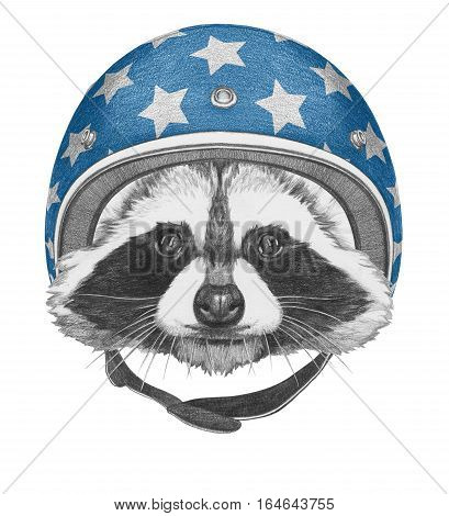 Portrait of Raccoon with Helmet. Hand drawn illustration.
