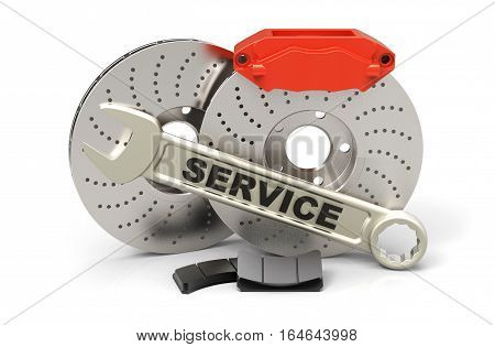 Car brake system with service wrench. Steel brake disk red calipers and pads. Isolated on white background. 3D rendering