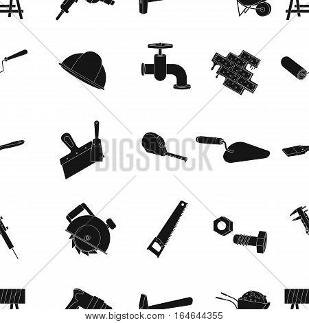 Build and repair pattern icons in black design. Big collection of build and repair vector symbol stock illustration