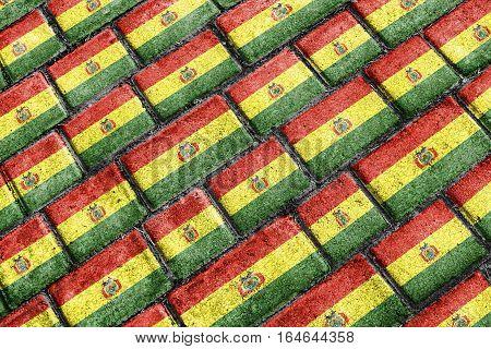 Bolivia Flag Urban Grunge Pattern