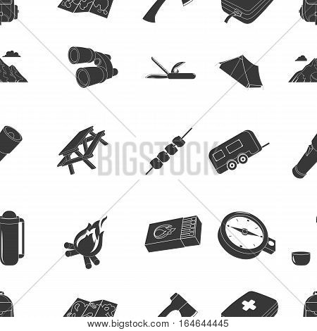 Camping pattern icons in black style. Big collection of camping vector symbol stock