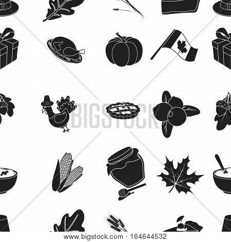 Canadian Thanksgiving Day pattern icons in black style. Big collection of canadian Thanksgiving Day vector symbol stock