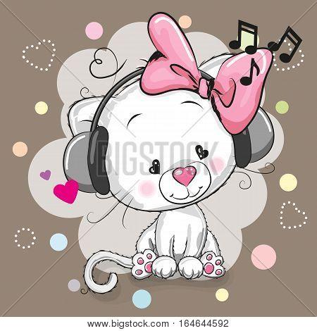 Cute cartoon white kitten girl with headphones and hearts