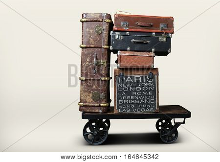 Luggage tourists with big suitcases on a cart