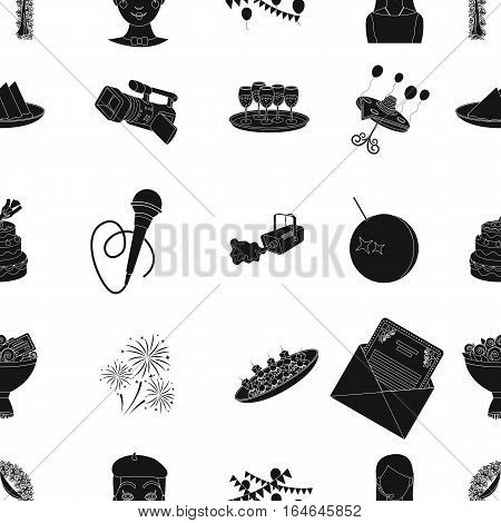 Event service pattern icons in black design. Big collection of event service vector symbol stock illustration