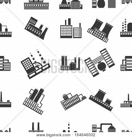 Factory pattern icons in black style. Big collection of factory vector symbol stock