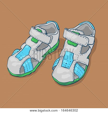 Children's sandals for a boy. Shoes on a brown background. Stock vector.