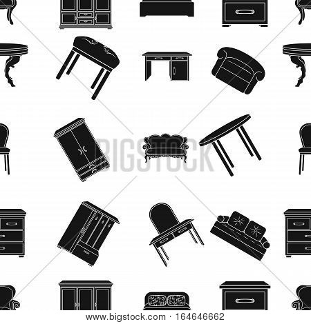 Furniture and home interior pattern icons in black design. Big collection of furniture and home interior vector symbol stock illustration