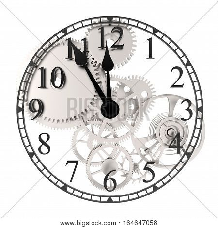 Clockwork with five minutes to twelve on white background 3D rendering