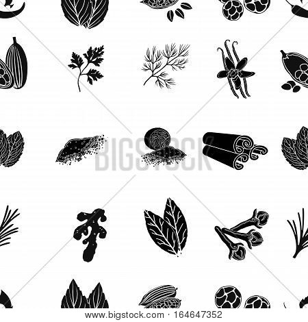 Herb and spices pattern icons in black style. Big collection of herb and spices vector symbol stock
