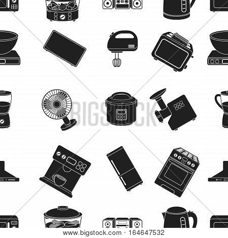 Household appliances pattern icons in black style. Big collection of household appliances vector symbol stock