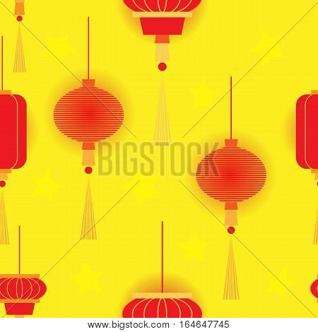 Chinese New Year with red glowing lights on a gold background. Vector seamless pattern.