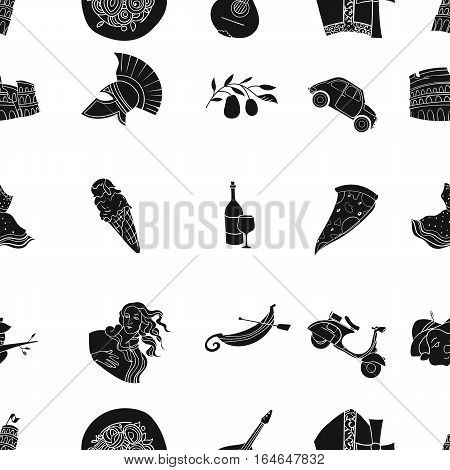 Italy country pattern icons in black design. Big collection of Italy country vector symbol stock illustration