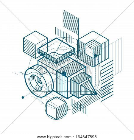 Abstract 3D Shapes Composition, Vector Isometric Background. Composition Of Cubes, Hexagons, Squares