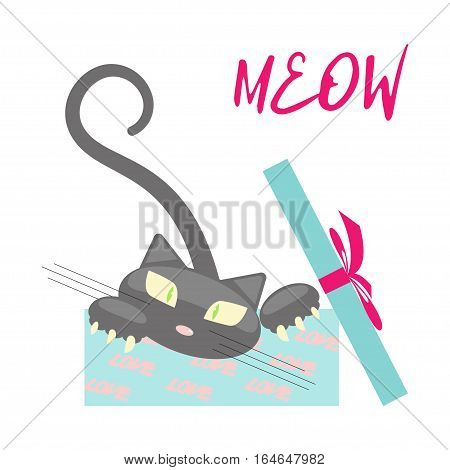 Gift with cute black Kitten isolated on white background.  Cartoon character of cat for Valentines day congratulation. Vector illustration eps 10