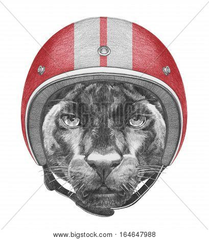 Portrait of Panther with Helmet. Hand drawn illustration.