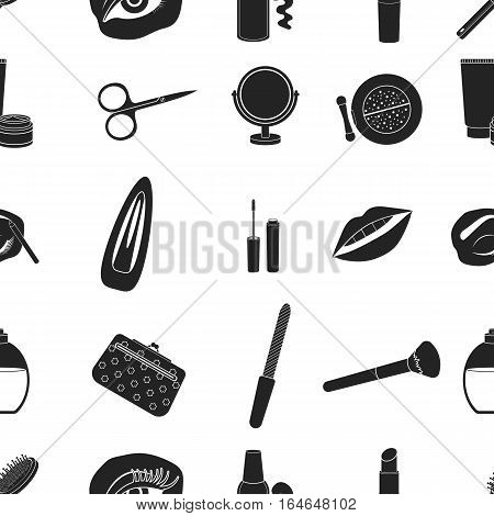 Make up pattern icons in black style. Big collection of make up vector symbol stock