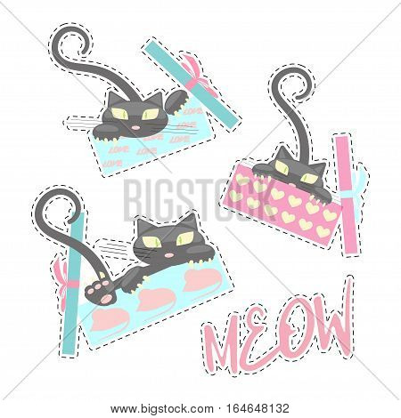 Fashion patch badges with love cats for Valentines day. Gift with Kitten vector illustration isolated on white background. Set of stickers, pins, patches in cartoon 80s-90s pop-art style.