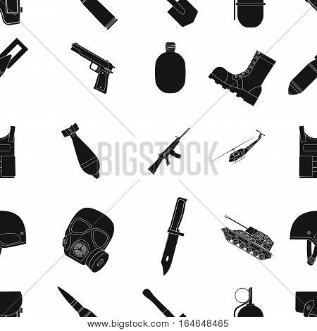 Military and army pattern icons in black design. Big collection of military and army vector symbol stock illustration