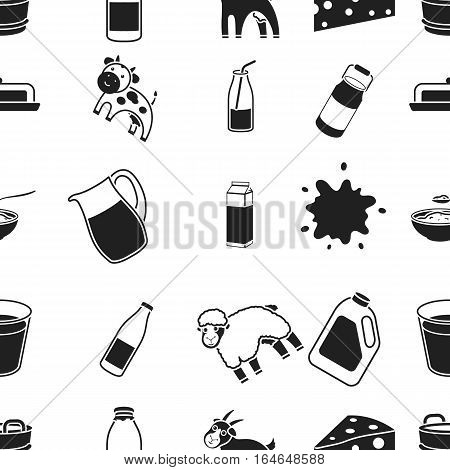 Milk pattern icons in black style. Big collection of milk vector symbol stock