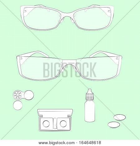 Set of glasses and lens illustrations. Light green background, white objects, black outline. Isolated images for your design. Vector